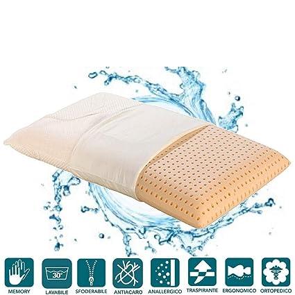 EvergreenWeb – Cojín Memory Foam de cama lavable en lavadora – Super Higiénico – Funda antiácaros