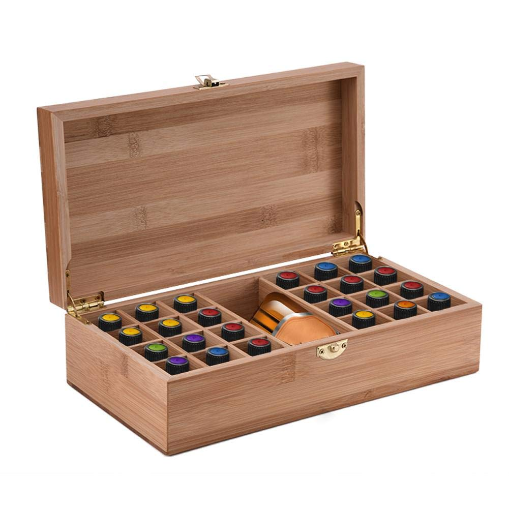 Essential Oil Storage Box, Makeup Carrying Case, Portable Wooden 25 Grids DIY Protective Storage Case for Traveling Artistic Ornament Decorative Gift