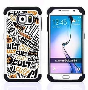 For Samsung Galaxy S6 G9200 - Cult Quote Symbol Skull Satanism Wallpaper /[Hybrid 3 en 1 Impacto resistente a prueba de golpes de protecci????n] de silicona y pl????stico Def/ - Super Marley Shop -