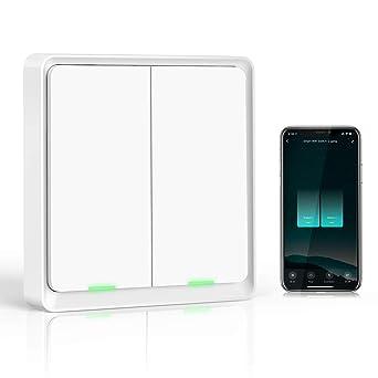 Wifi Interruptor Alexa 2 Gang, Etersky Interruptor Inteligente Compatible con Alexa y Google Home...