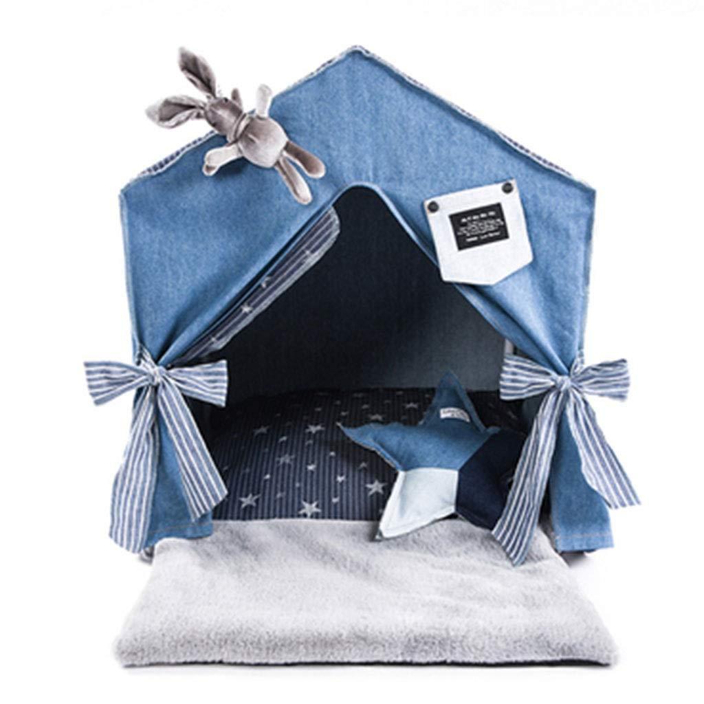 犬小屋 屋内ペットテント 折りたたみ犬小屋 冬の暖かい猫用トイレ砂 ペット用品 小さな犬小屋 屋外日焼け止めテント ペットの携帯用旅行テント (Color : Blue, Size : 50*40*57cm) B07Q3DYQQ5 Blue 50*40*57cm