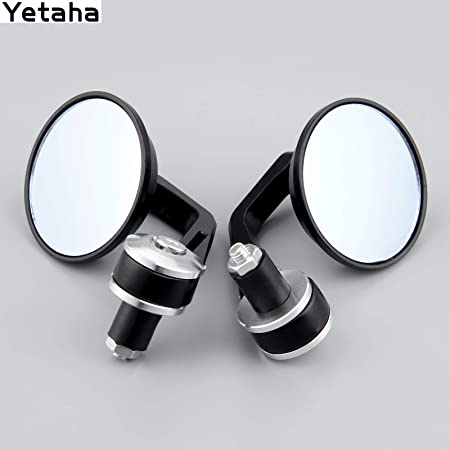 Universal Round Covex Mirrors For Cafe Racer Motorcycle Bar End Mirror Handlebar