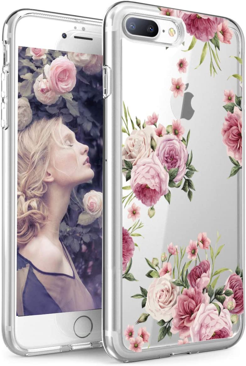 SPEVERT Case for iPhone 7 Plus Case for iPhone 8 Plus Case Flower Pattern Printed Clear Transparent Hard Back Case with TPU Bumper Cover for iPhone 7 Plus/8 Plus 5.5 inches - Pink Rose