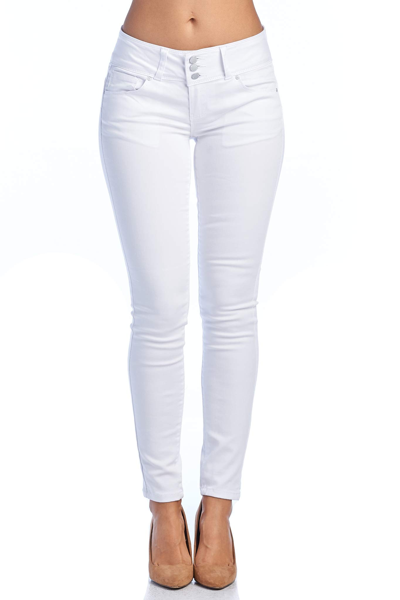 TwiinSisters Women's Butt Lift Mid-Rise Stretch Denim Skinny Jeans with Spandex