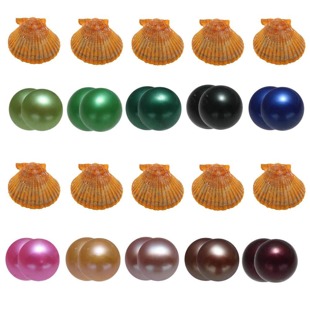 10PC Akoya Saltwater Oysters with 20 Pearls Inside, Cultured Love Wish Round Red Twin Pearl Oyster with Different Color (7-8mm)