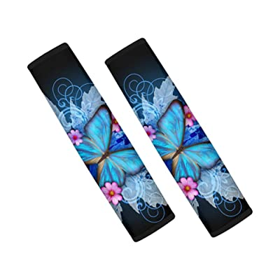 2 Pack Seatbelt Covers Car Seat Belt Strap Cover, Soft Comfort Stylish Shoulder Pad (Blue Butterfly 1): Automotive