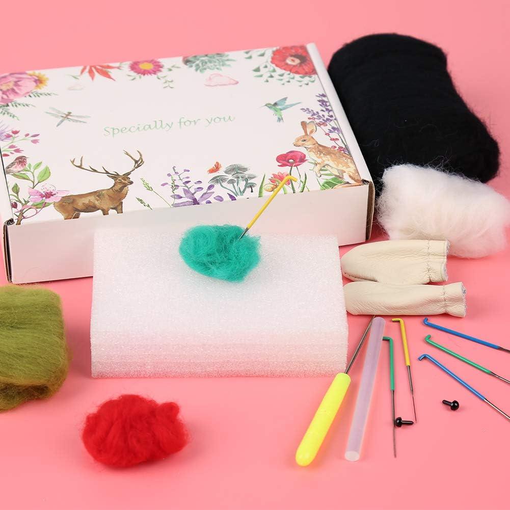 6 Pcs Felting Needles Felting Kits for Beginners Arts /& Crafts Wool Roving and Other Felting Supplies Needle Felting Kit with Gift Box Instructions Felting Foam Mat