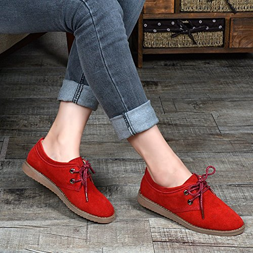 Lightweight Shoes Slip Retro Women's T Round Shoes Oxfords Flats Western Toe JULY On Red qcIWRw6WZ