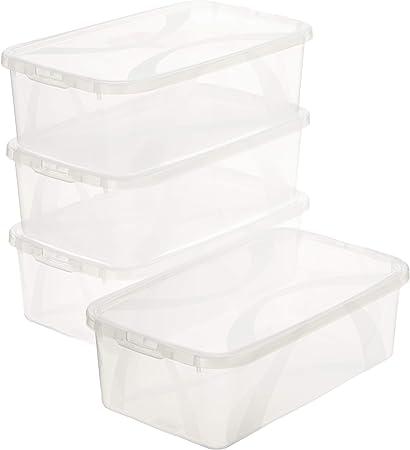 AmazonBasics – Juego de 3 cajas de almacenamiento, 3 x 10 l: Amazon.es: Hogar