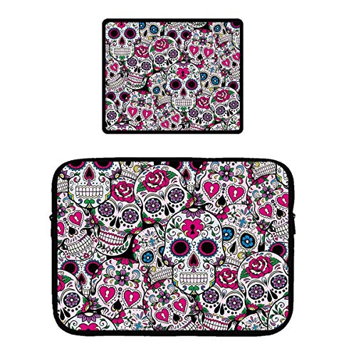 Pattern Sugar Base - Laptop Sleeve, Vertical Water Repellent Protective Tablet Pouch Bag - Gaming Mouse Pad with Stitched Edges, Non-Slip Base, Sugar Skull Pattern Slim Laptop Sleeves