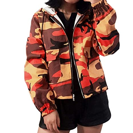 Mujeres – Sudadera con capucha camuflaje, toamen mango larga Zipper Pockets Coat Abrigo de bolsillo