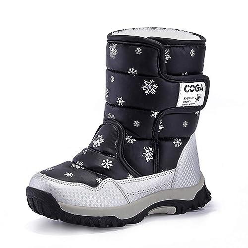 taille 40 01d35 ed6b6 Bottes Neige Fourrées pour Enfant Plate Chaussure Fille Ski Boots Garçon  Impermeable