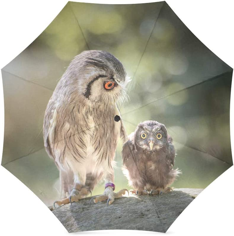 foldable Umbrella Custom Lovely owl Mother and Son Compact Travel Windproof Rainproof