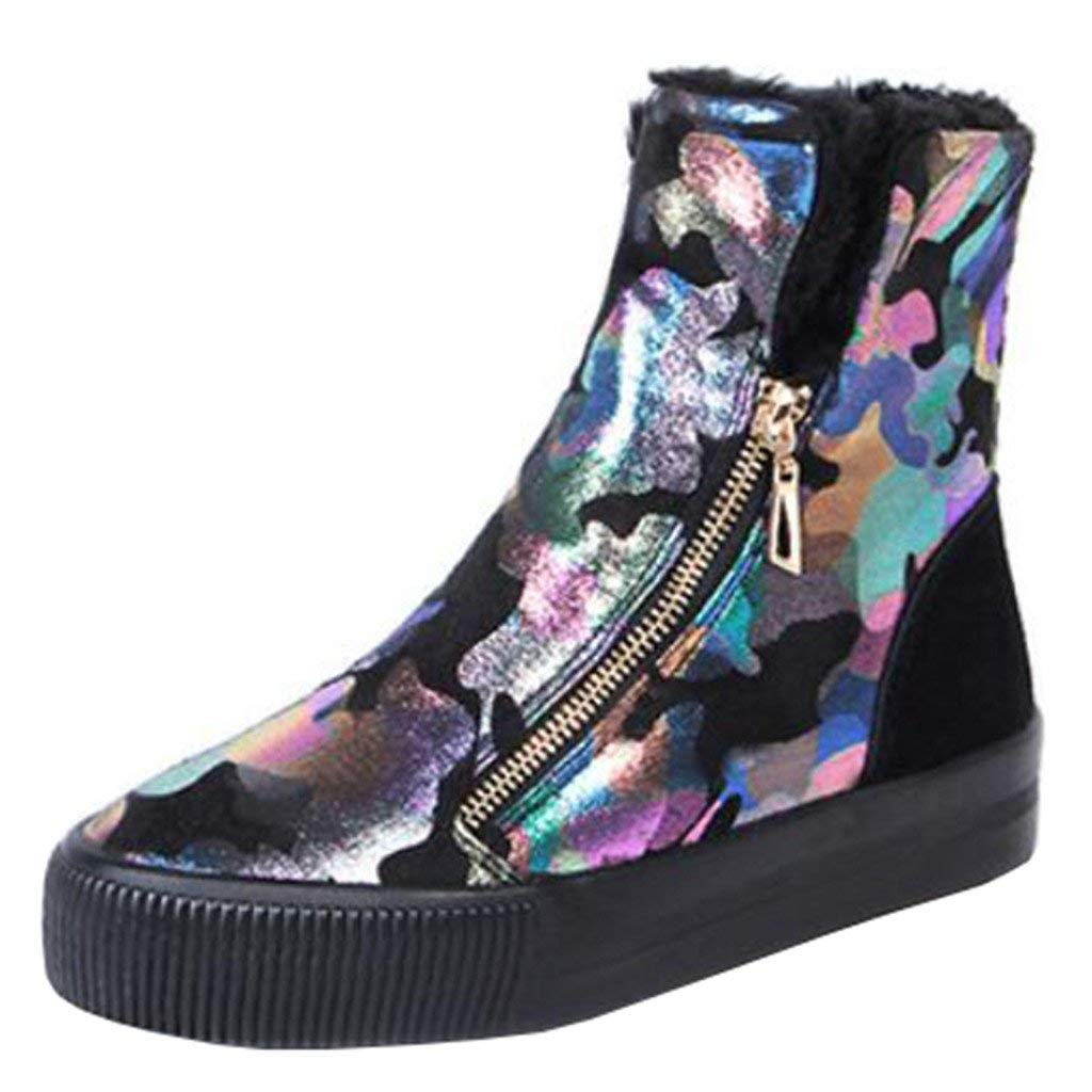 Qiusa Frauen Runde-Toe-Plattform-Flache Zip-Pelz-Schneeschuhe (Farbe (Farbe (Farbe   Schwarz, Größe   4 UK) 4cef4b