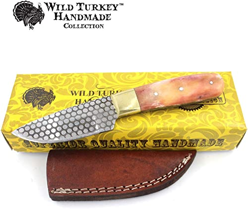 Wild Turkey Handmade Collection 7.5 Full Tang Real Bone Handle Fixed Blade Skinner Knife w Leather Sheath Acid Etched Blade