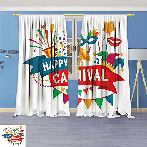 SOCOMIMI Printed Pair (3066 Panels) Room Darkening Thermal Insulated Carnival Festive Concept with Musical Trumpet mask Lips Jester Hat Bunt Top Pattern Curtains 72W x 84L inch