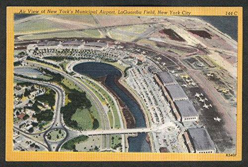 Air Viw of New York Municipal Airport LaGuardia Field NY postcard 1940s