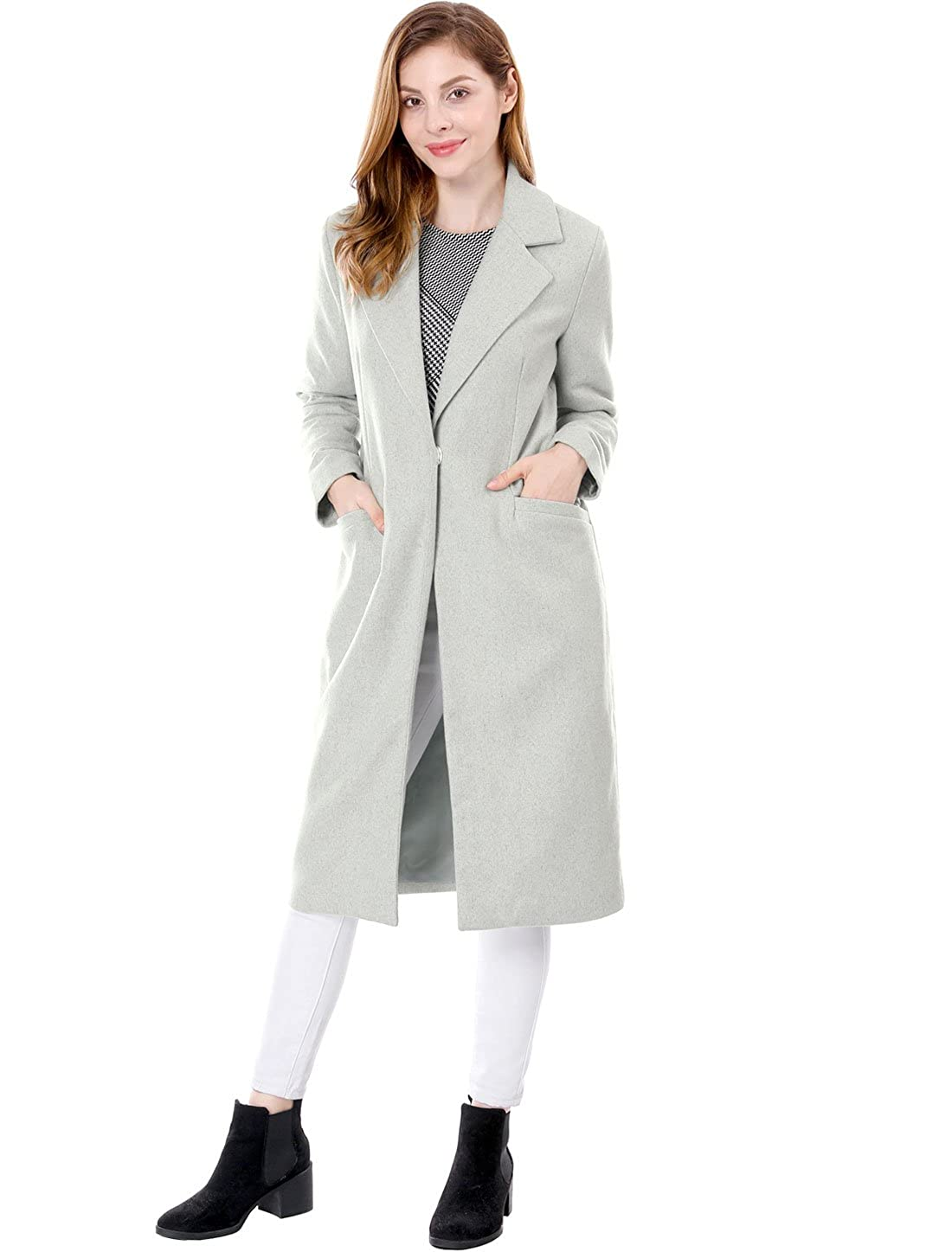 Allegra K Women's Notched Lapel One Button Winter Blend Worsted Long Coat