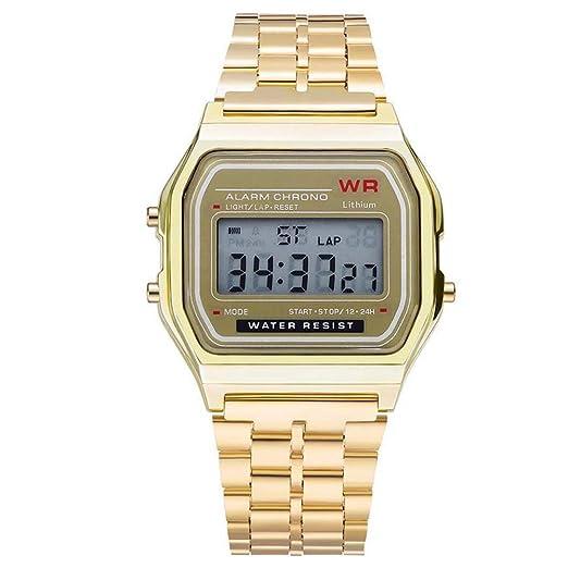 AchidistviQ-Men - Reloj de Pulsera para Mujer, Esfera Cuadrada, Impermeable, con Pantalla Digital, Color Dorado: Amazon.es: Relojes