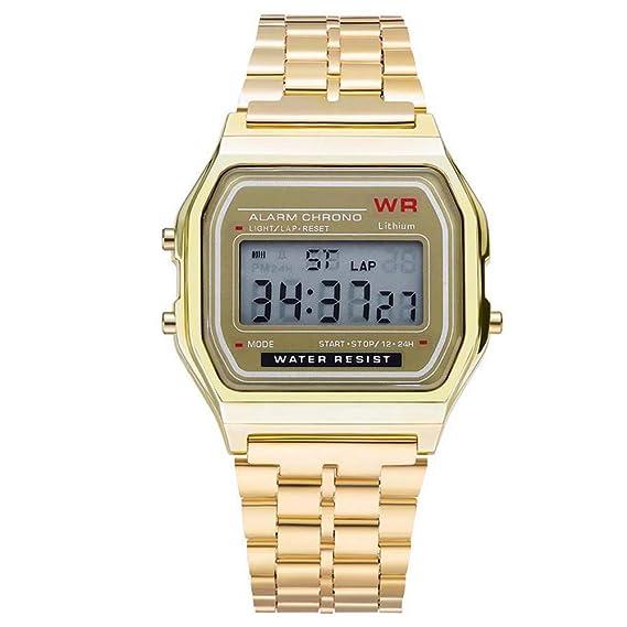 Reloj Hombre Mujer Cronómetro de Alarma de Esfera Cuadrada con Pantalla Digital Impermeable - Dorado: Amazon.es: Relojes