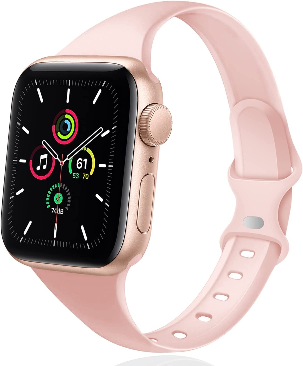 DYKEISS Sport Slim Silicone Band Compatible for Apple Watch Band 38mm 42mm 40mm 44mm, Thin Soft Narrow Replacement Strap Wristband for iWatch Series 5/4/3/2/1 Women & Men (Sand Pink, 42mm/44mm)