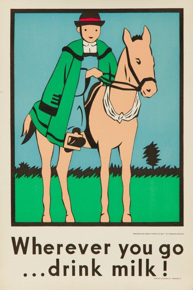 Wherever You Go Drink Milk 。( Horse )ヴィンテージポスター(アーティスト: Deacon ) USA C。1920 9 x 12 Art Print LANT-64338-9x12 B017X6J06S 9 x 12 Art Print