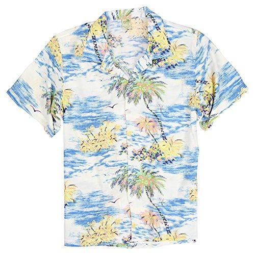 Men's Short Sleeve Rayon Hawaiian Tropical Patterns Shirts (Island Sky, XXL)