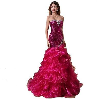 Dearta Womens Mermaid Sweetheart Floor-Length Evening Dress UK 6 Fuchsia