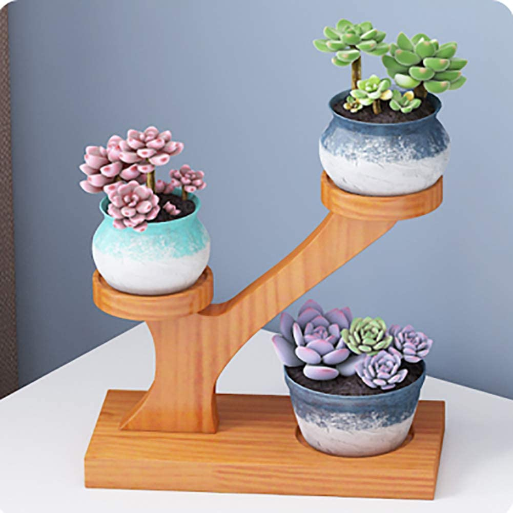Plant Stand Garden Pots Ceramic Succulent Flower Bamboo Porcelain Planter Holder