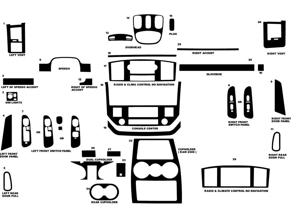 Rdash Dash Kit Decal Trim for Dodge Ram 2006-2008 (1500) / 2006-2009 (2500 / 3500) - Wood Grain (Burlwood Honey) Rvinyl