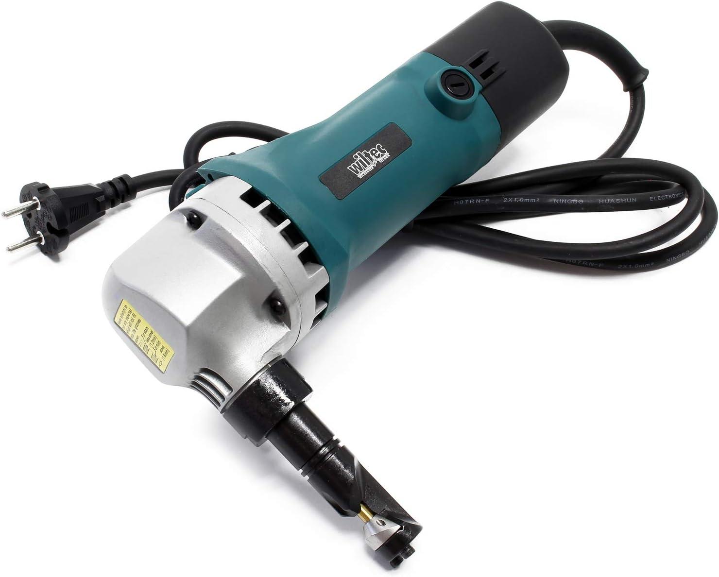 Cizalla eléctrica para chapa y plástico 500W, profundidad de corte 2,5mm, cabezal giratorio 360°