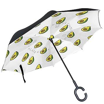 ALAZA Aguacate Doodle patrón Paraguas invertido Doble Capa Resistente al Viento Reverse Paraguas: Amazon.es: Deportes y aire libre