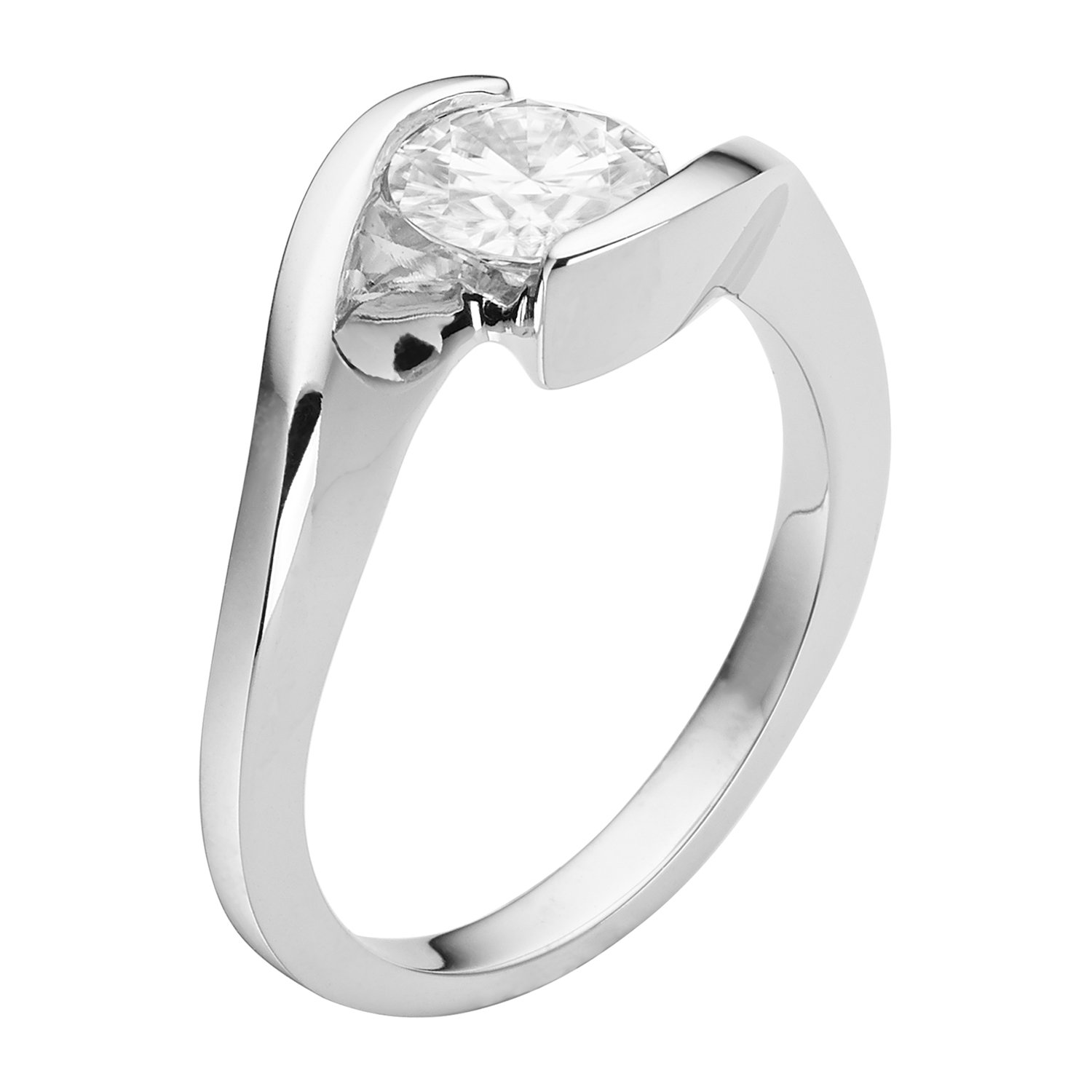 Forever Brilliant Round 6.5mm Moissanite Engagement Ring - size 8, 1.00ct DEW By Charles & Colvard by Charles & Colvard (Image #3)