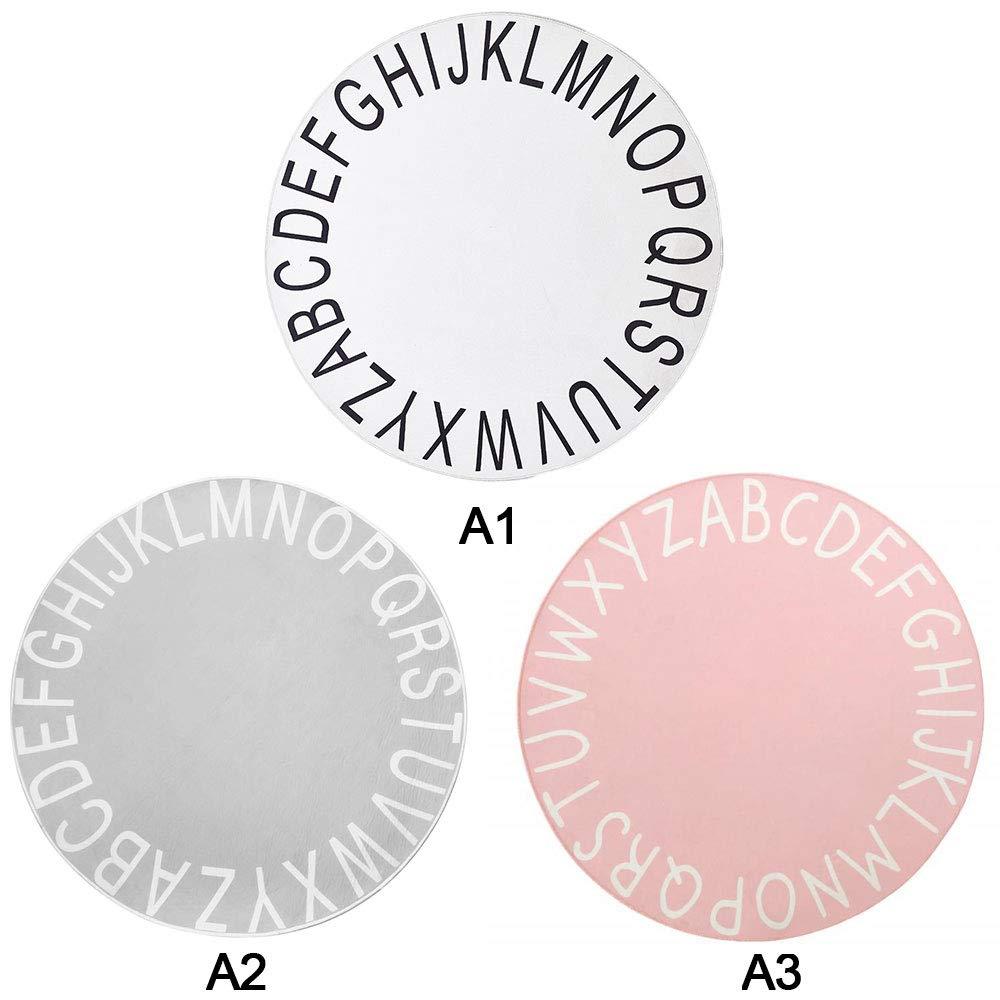 tappeto per bambini tappetino per gattonare 47 pollici colore rosa per gioco per bambini e dormire decorazioni per stanze ginocchiere Kgjsdf Tappeto rotondo antiscivolo con alfabeto ABC