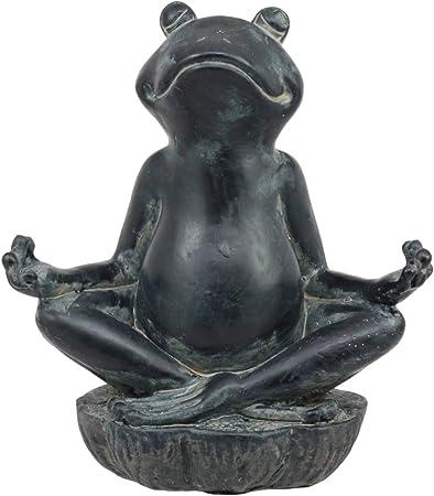 Aluminum Whimsical Meditating Yoga Bear Lotus Pose Garden Statue Rustic Decor