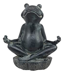 "Ebros Gift Feng Shui Vastu Buddha Zen Yoga Frog Meditating Statue Decorative Talisman Figurine For Positive Flow And Harmony For Home or Office 6""Tall"