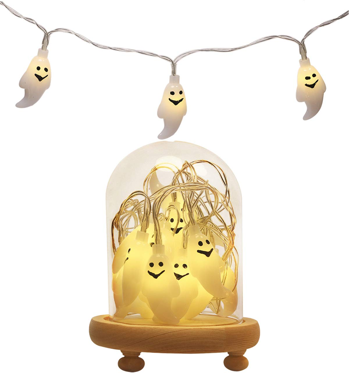 Warm White - Pumpkin Mini Skater Pumpkin Halloween String Lights Small Battery Operated 6.56 ft 20 Led Light Warm Lighting for Christmas Events Holiday Party Tree Indoor Decoration