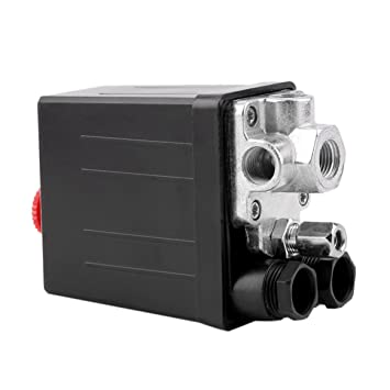 Delicacydex Heavy Duty 240V 16A Control automático de Carga/Descarga automática Compresor de Aire Válvula de Control del Interruptor de Presión 90 PSI -120 ...