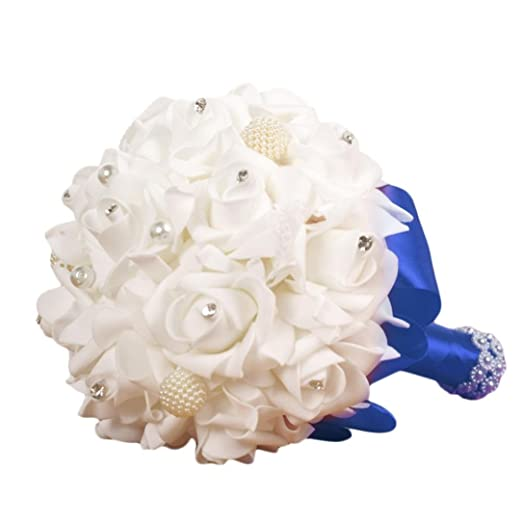 Bouquet Sposa Vero O Finto.Gallity Clearance Da Sposa Bouquet Di Perline Di Cristallo Finto