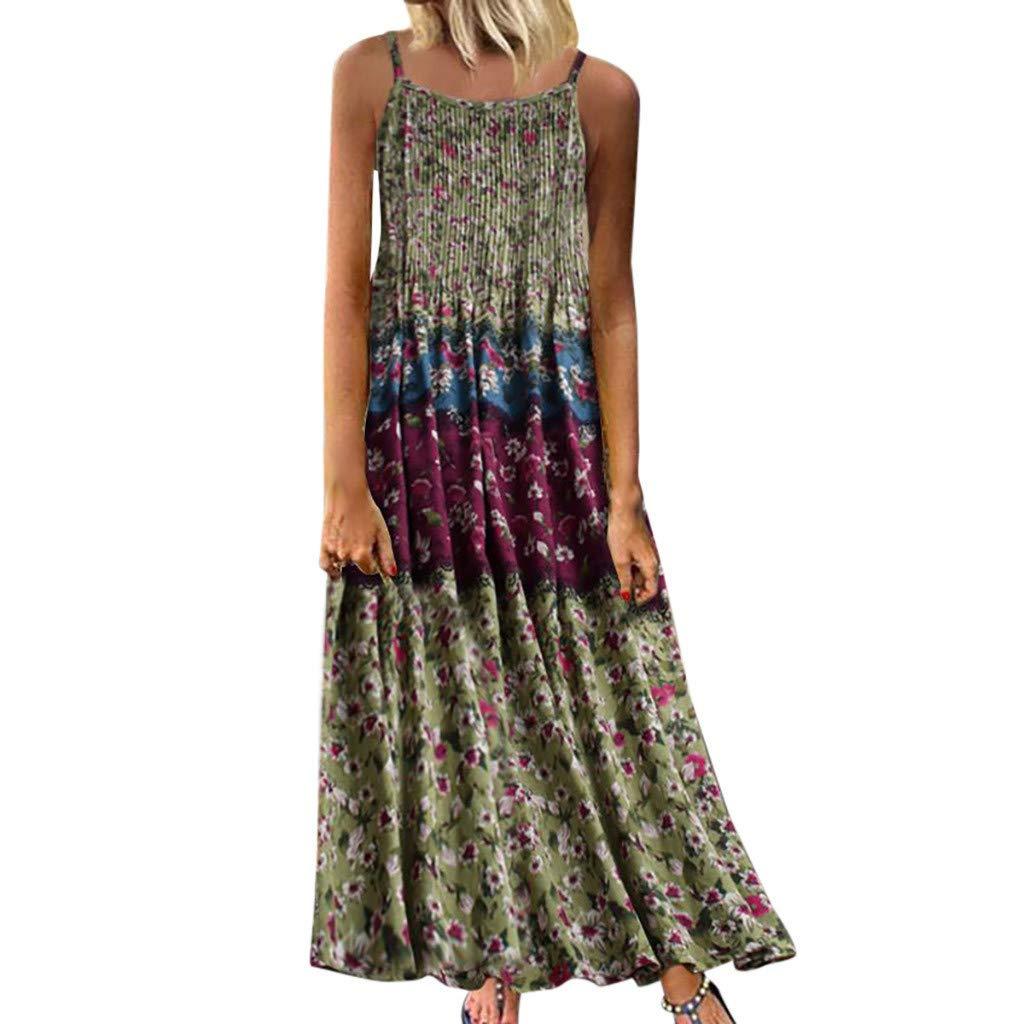 Women's Vintage Sleeveless Bohemian Floral Print O-Neck Long Maxi Summer Dress Green