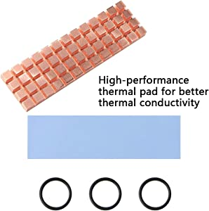 icepc-DIY M.2 2280 SSD Pure Copper Heatsink Kit Cooler Heat Sink with Silicone Based Thermal Pad for Cooling M.2 SSD NGFF SSD NVME SSD(70x20x2mm)