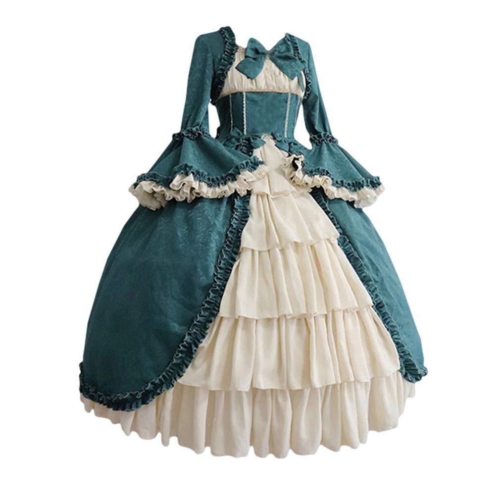 Dcola Costume M/édi/éval De V/êtements De Style F/éminin Col Carr/é Robe Vintage Renaissance Costume De Princesse Irr/éguli/ère Taille Haute /à Manches Longues