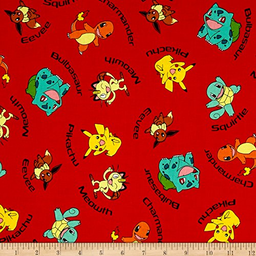 Kaufman Pokemon Characters Red Fabric By The (Pokemon Fabric)