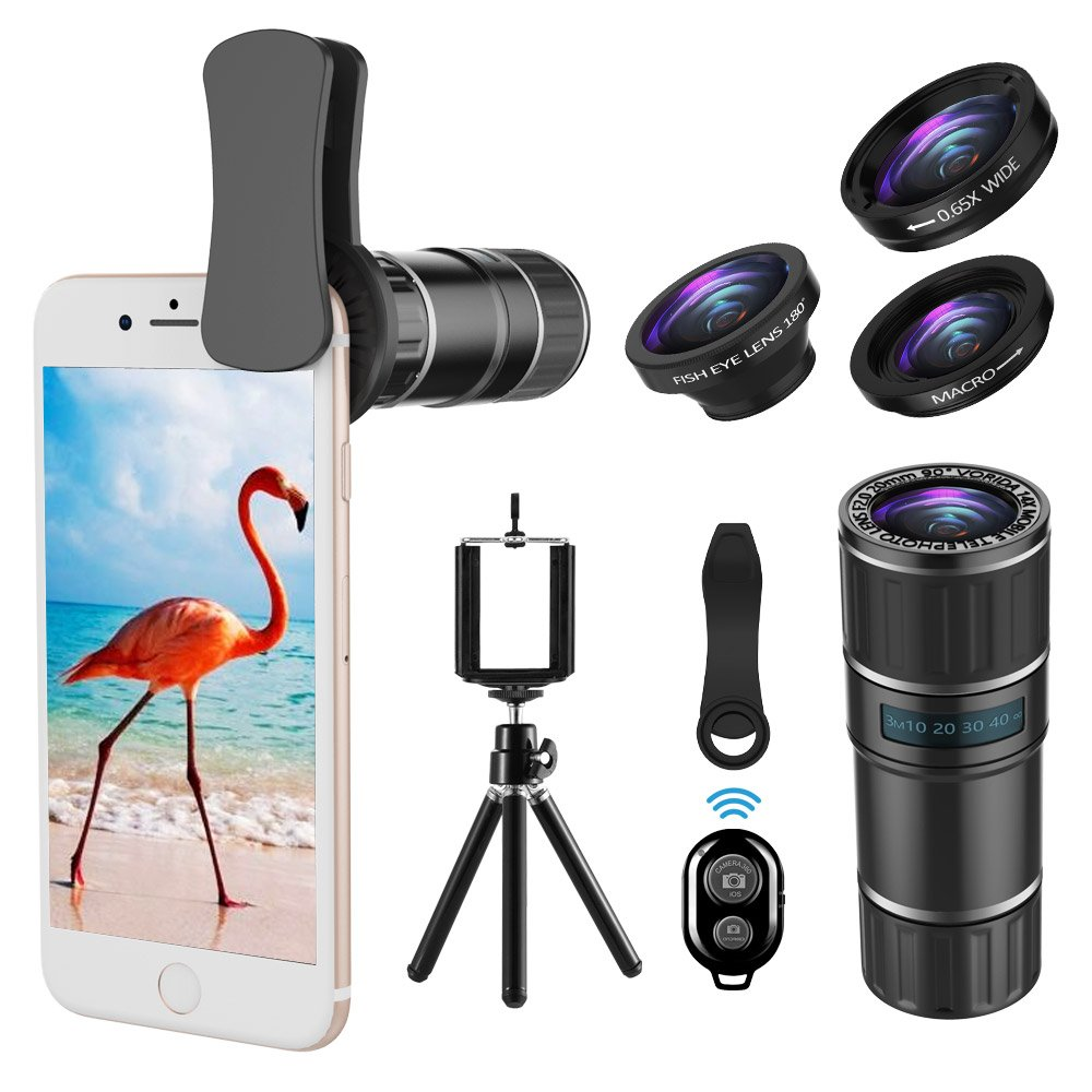 Phone Camera Lens, 4 in 1 iPhone Telephoto Lens, 14X Telephoto Lens + 180° Fisheye Lens + 15X Macro Lens + 0.65X Wide Angle Lens + Tripod & Phone Holder for iPhone x 8 7 6 plus, Samsung and Smartphone