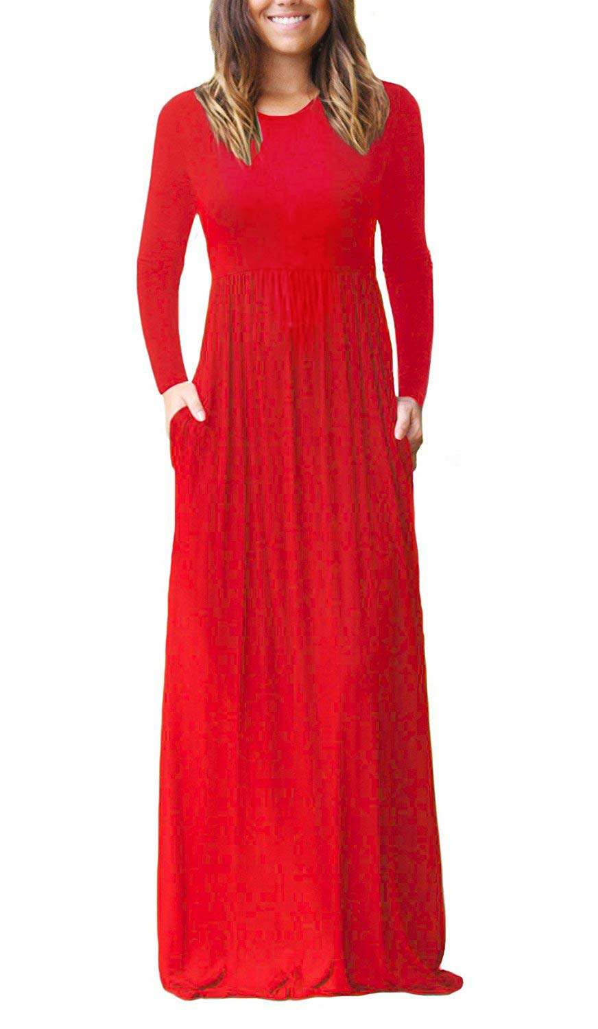 bb664d6e83fb Galleon - GRECERELLE Women's Loose Sleeve Loose Plain Maxi Dresses Casual  Long Dresses With Pockets Red-S
