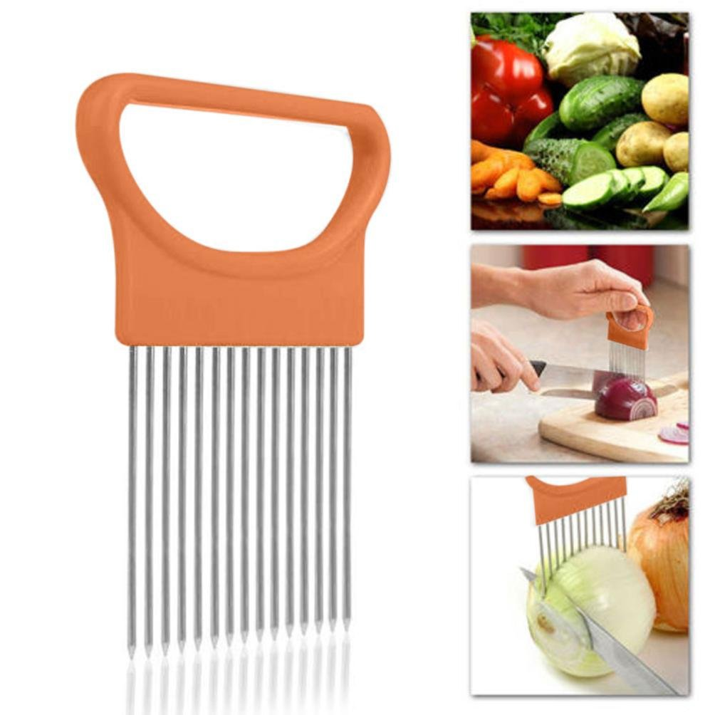 Iuhan New Tomato Onion Vegetables Slicer Cutting Aid Holder Guide Slicing Cutter Safe Fork (Orange)