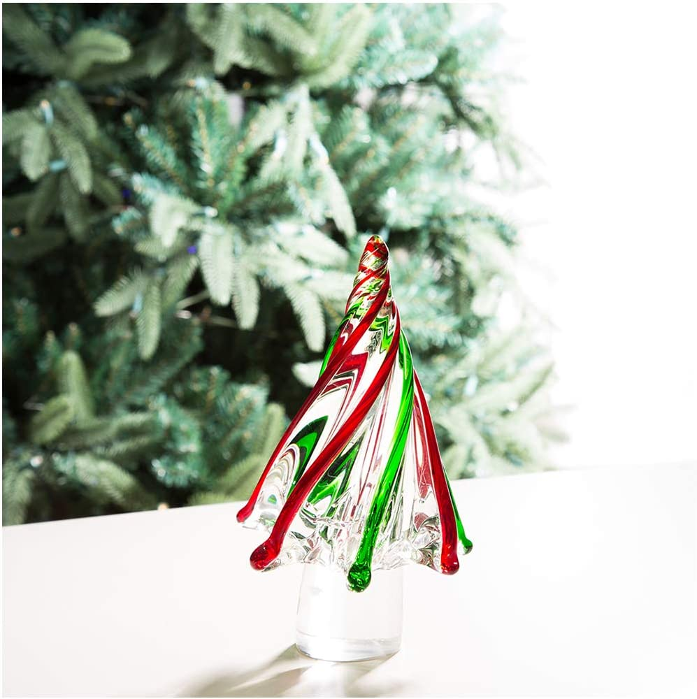 "Glitzhome Striped Glass Christmas Tree Table Decor Red/Green 7.9"" H"