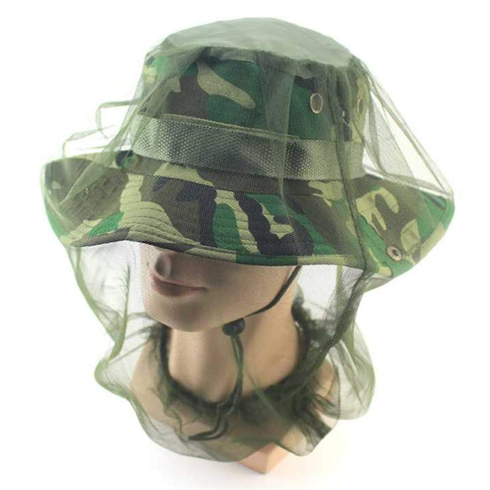 yuye-xthriv Anti-Mosquito Insect Head Face Protect Mesh Net Cap for Fishing Camping Hunting Army Green