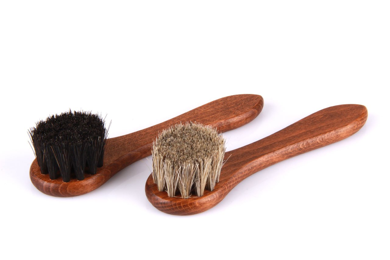 2 Pieces set applicator brushes – Cream brushes with horsehair – Wood shoe brushes Classic Edition – z2467