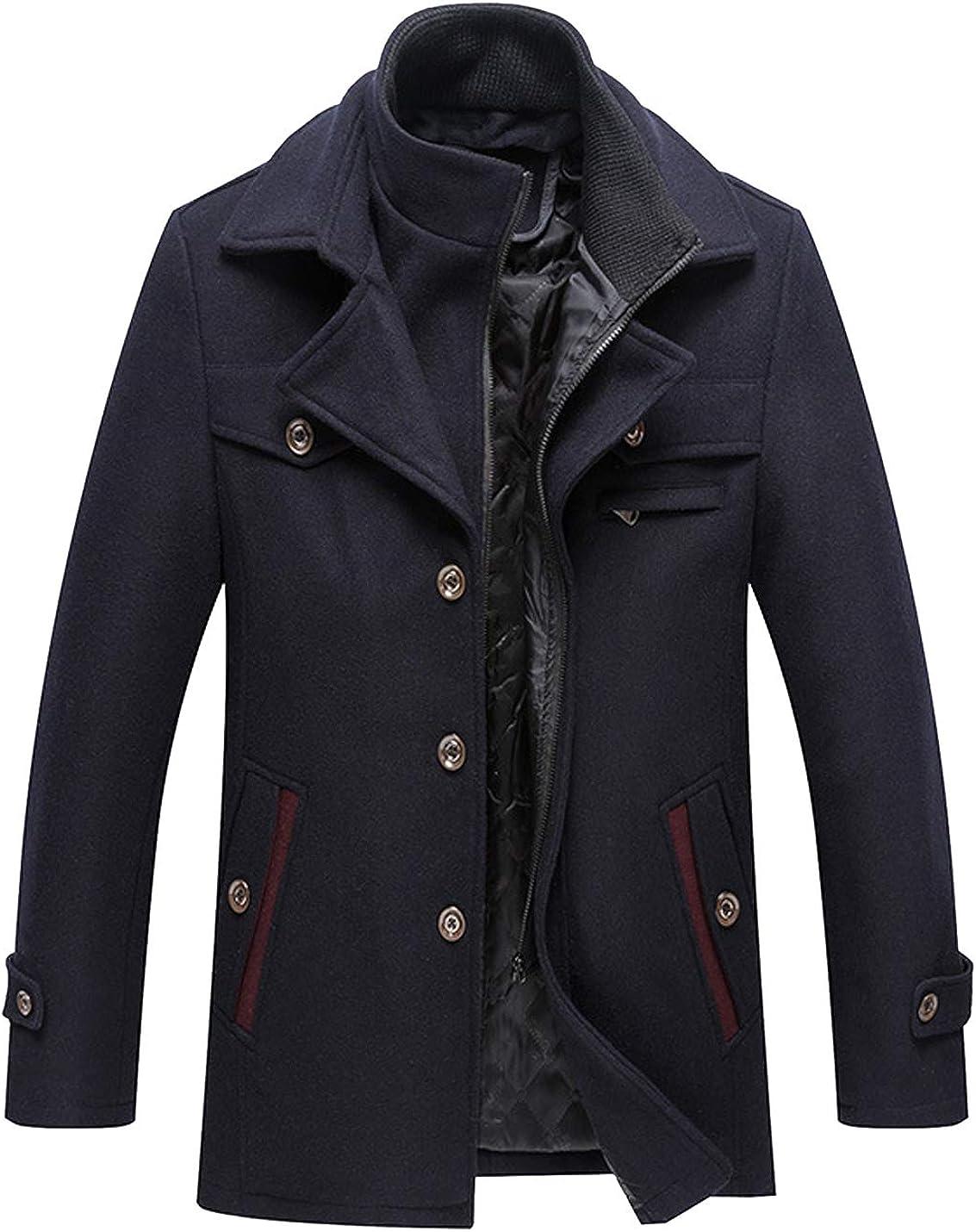 Liengoron Mens Casual Winter Removable Collar Heavyweight Wool Blend Walker Coats